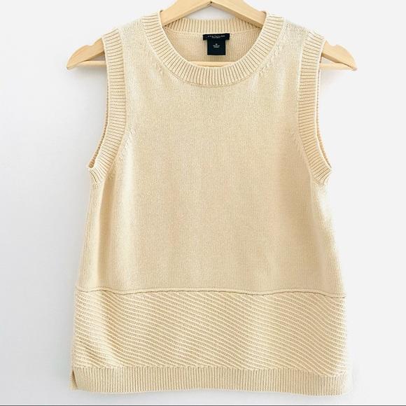 Ann Taylor sleeveless cream sweater size M